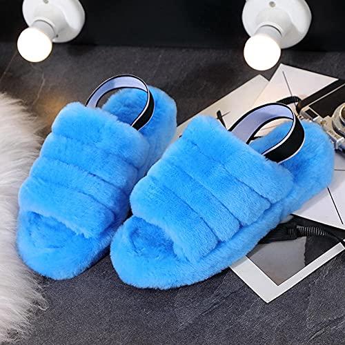 xinghui Chanclas Mao FOMPPERS Peluches sabrosos Zapatillas Wedling Plus Zapatillas afuera-Azul_36