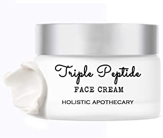 Triple Peptide Face Cream, Neck Firming Anti Wrinkle and Repair Face Cream, Regenerating, Boosts Collagen, AGE Inhibitor for Crepey, Saggy Skin, Repairs Damage, Natural & Organic 1 oz Glass Jar.
