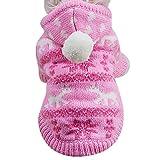 Fossrn Ropa Perro Pequeño Invierno para Mascotas Tejer Suéter con Capucha Capa Abrigo de Ropa para Yorkshire Chihuahua