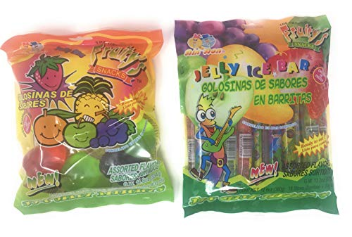 2 Packs Of Fruity#039s Jelly Candies  1 Jelly Ice Bar and 1 Jelly Fruit Shaped Candies Bundle of 2