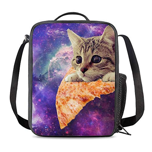 PrelerDIY Galaxy Pizza Cat Lunch Box - Insulated Meal Bag Lunch Bag Food Container for Boys Girls School Travel Picnic