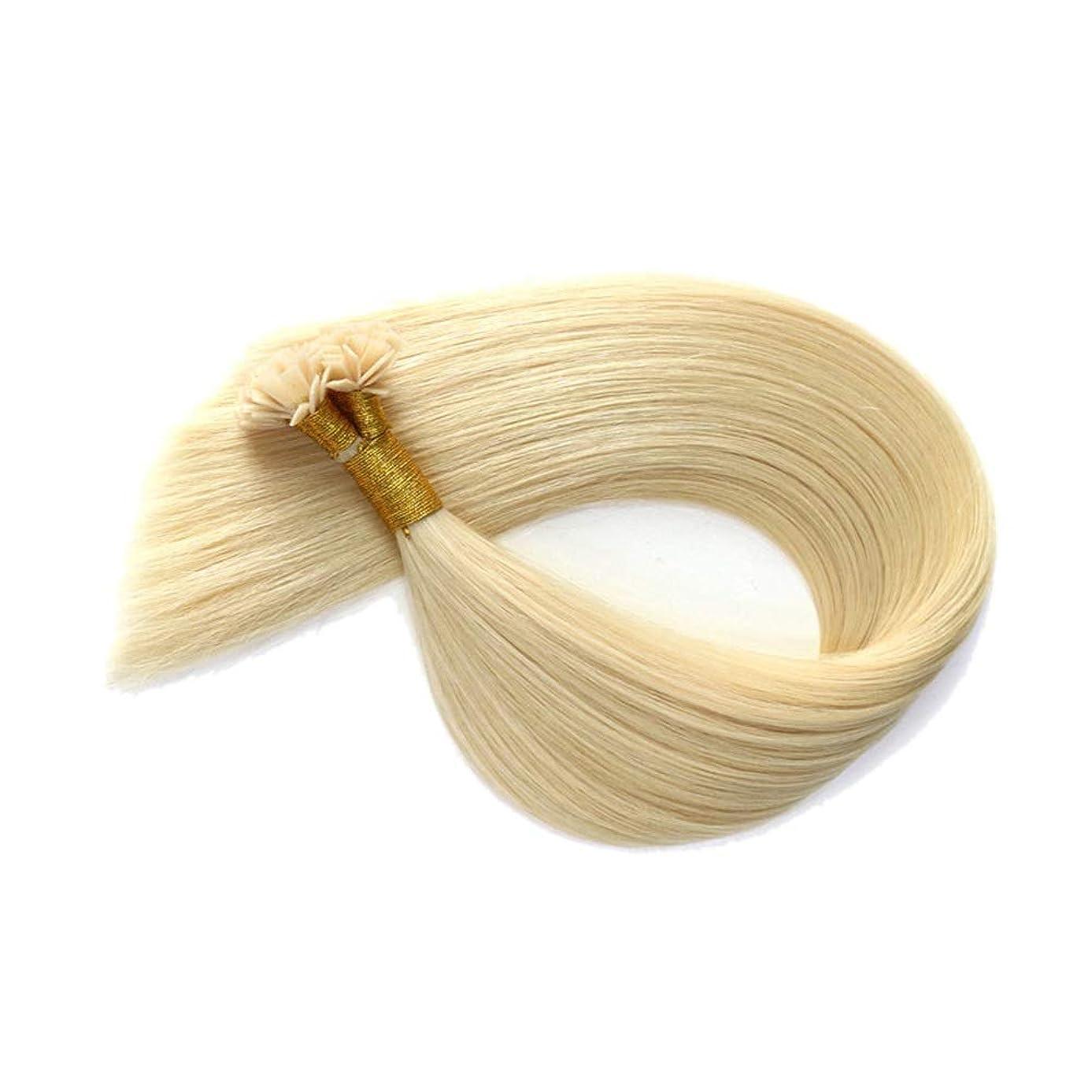退却ママ賞賛WASAIO ヘアエクステンションライトフラットチップ100%人間の曲がっていないネイルクリップ裏地なし髪型 (色 : Blonde, サイズ : 30 inch)