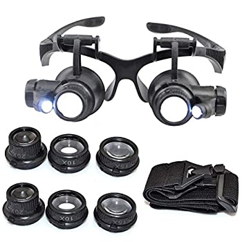 10X 15X 20X 25X Headband Magnifier Double Eyes Glass Jeweler Loupe with 2 LED Lights 8 Replaceable Lens for Jeweler Watch Repair