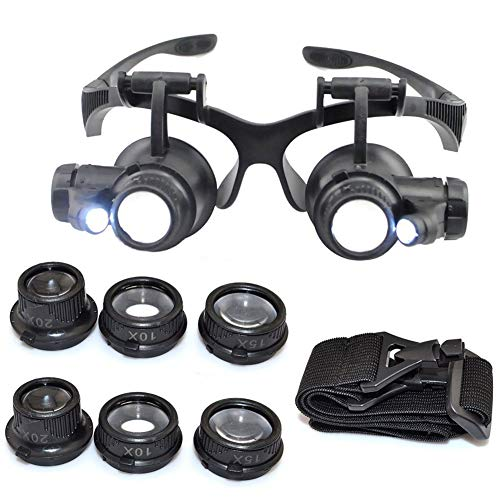 10X 15X 20X 25X Headband Magnifier Double Eyes Glass Jeweler Loupe with 2 LED Lights 8 Replaceable Lens for Jeweler…
