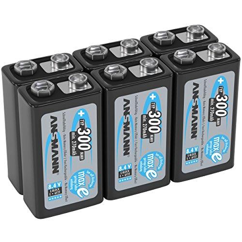 ANSMANN Akku 9V Block Typ 300mAh NiMH 6 Stück mit geringer Selbstentladung - Wiederaufladbare Batterien maxE mit hoher Kapazität - 9 Volt Batterie für Messgerät Multimeter Spielzeug Fernbedienung