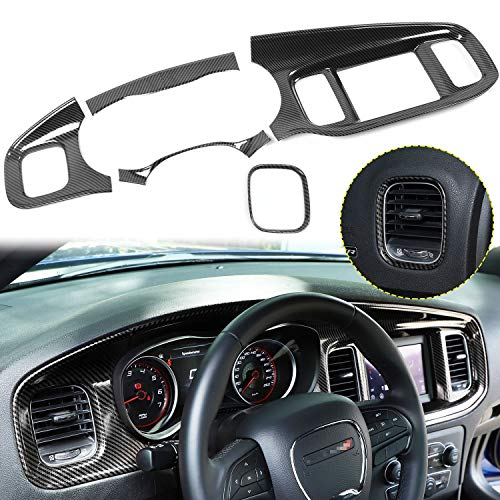 Voodonala for Charger ABS Carbon Fiber Center Consoles Dash Board Trim for 2015-2019 Dodge Charger, 5pcs (Not fit 8.4inch Screen)