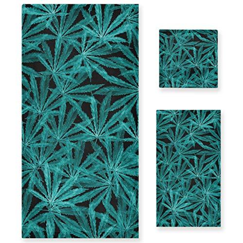 Naanle Juego de 3 toallas de baño retro de hojas de mariguana para baño de algodón altamente absorbente, toalla de baño grande+toalla de mano+toalla, paquete de 3 toallas suaves para decoración