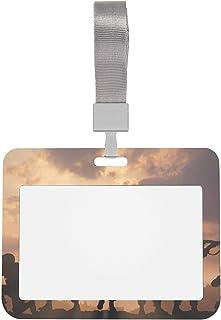 4x3 protège-cartes manches militaires sur Sunset Sky porte-badge d'identification de travail avec lanière porte-badge de s...