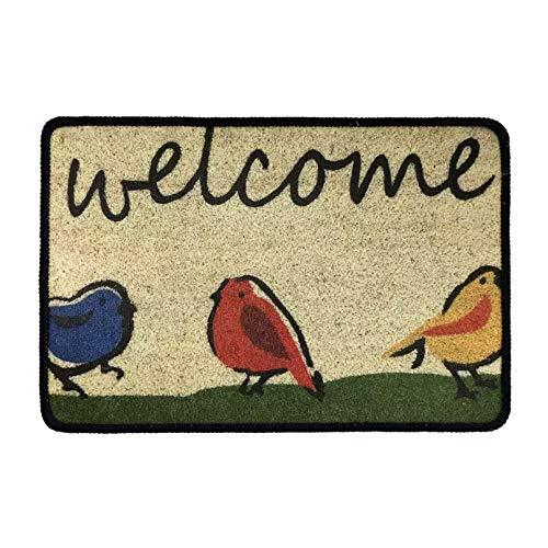 N/A Felpudos De Pájaro De Bienvenida para Entrada De Entrada Alfombras De Área De Alto Tráfico Interior Felpudo Interior Exterior Baño Cocina Antideslizante Goma Pasillo Exterior Tapete Absorbente