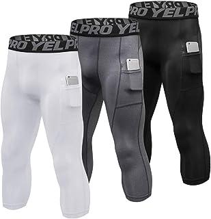 3 Packs Men High Waist Yoga Pants Quick Dry Sports Pants Fitness Leggings Workout Pants with Pocket