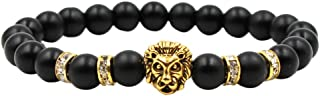 Afazfa💗💗Fashion Simple Black Scrub Ancient Silver Panther Lion Head Men And Women Stretch Bracelets