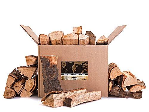 Axtschlag Räucherholz Eiche, 10 kg sortenreines Smoker Wood mit Rinde, Scheitholz mit ca. 25 cm Länge für Räucheröfen, größere Kohlegrills und Smoker