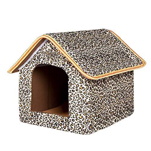 Pet House Cama Plegable con colchoneta Soft Winter Puppy Sofa Cojín House Kennel Nest Dog Cat Bed para Perros pequeños y medianos,Gray,49cmx42cmx48cm
