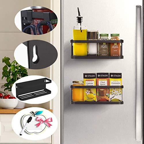 2 Stk Hängeregal für Kühlschrank Kühlschrank Regal Magnet Montage Gewürzregal mit Ablage Haken Küchenregal Küchen Organizer Aufbewahrung Magnetischer Speicher Organisator Regal Gewürzglasgestell Küche
