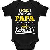 Shirtracer Sprüche Baby - Egal wie Cool Dein Papa meiner ist Landwirt - 6/12 Monate - Schwarz - Babystrampler Jungen - BZ10 - Baby Body Kurzarm für Jungen und Mädchen