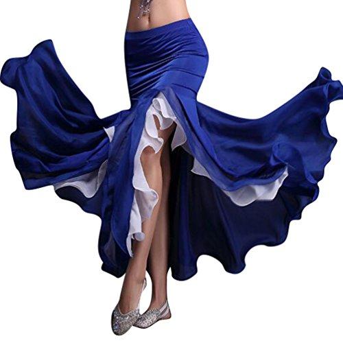 YiJee Donna Danza del Ventre Costume Orientale Belly Dance Gonna Blu Scuro