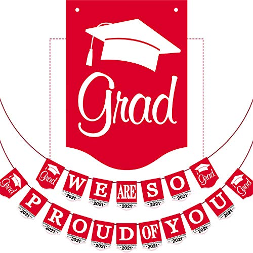 2021 Red Graduation Banner - No DIY Required Graduation Congrats Grad Party Supplies Decorations, Red Grad Banner for College, High School Party Supplies (We are So Proud of You)