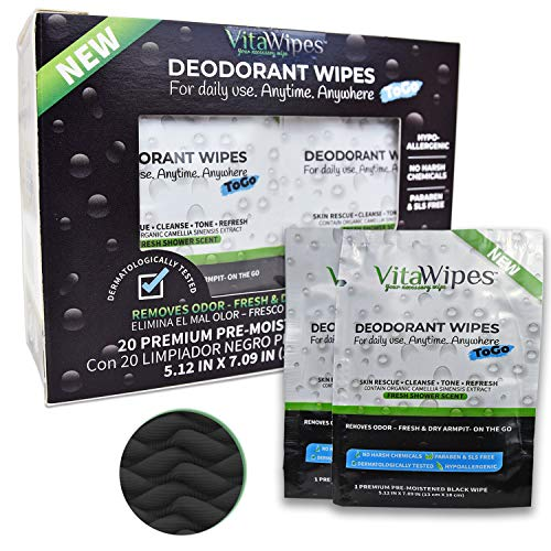 VitaWipes Vegan Deodorant Wipes To Go | Travel Size | 20 Pre-Moistened Organic Enriched Individually Wrapped Black Towelettes for Sweaty Armpit, Neck. Free of SLS, Paraben, Aluminum & Harsh Chemicals