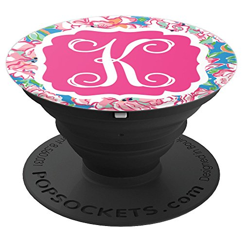 Personalized Pop Socket K Initial - Hot Pink Charm Flowers PopSockets Grip and Stand for Phones and Tablets