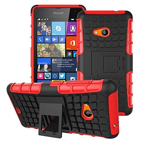 pinlu® Etui Schutzhülle Für Microsoft Lumia 535 Handyhülle Hybrid Dual Layer Case TPU + PC Kombination Fall Stoßfest mit Stand-Funktion Reifen Muster Rot