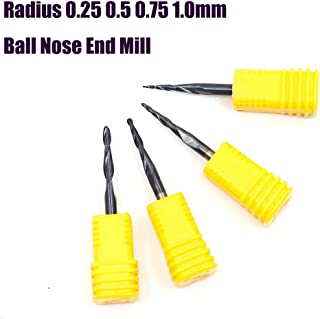Carbide Tapered End Mill Ball Bits Nose Radius 0.75mm 2 Flute H-Si Cutting Tool