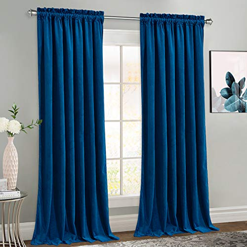 NICETOWN Royal Blue Velvet Curtains for Living Room, Soft and Elegant Heavy Matt Solid Window Curtains for Bedroom, Office & Hall (2 Pieces, 96 inches Long)