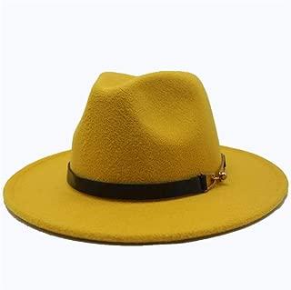 SGJFZD Men's Women's Wool Fedora Hat Wide Brim Hat Autumn Fascinator Jazz Hat Casual Wild Jazz Hat Size 56-58CM (Color : Yellow, Size : 56-58)