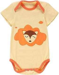 MICHLEY MICHLEY Baby Body Strampler Unisex Kurzarm Aufdruck Jumpsuit für Jungen und Mädchen, 9-12 Monate, Fuchs