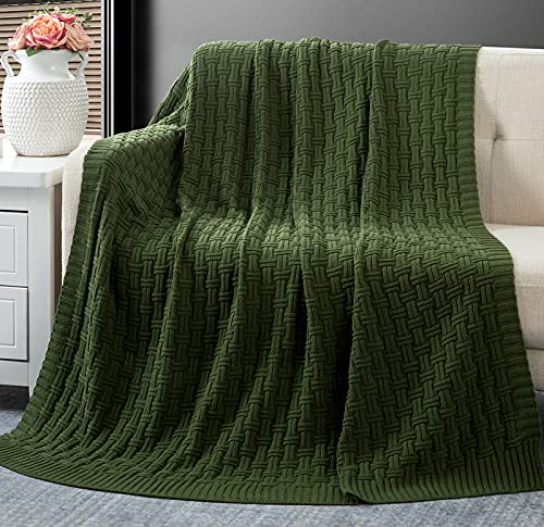RUDONG M Forest Green Cotton Cable Knit Throw Blanket, Cozy Warm Knitted Couch Cover Blankets, 50 x 60 Inch