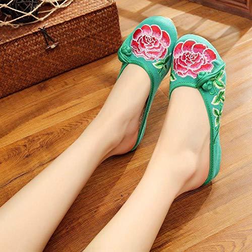 COQUI Slippers,Zapatos de Tela Bordados Decorativos con Hebilla de Disco con Cabeza de Nube Lateral, Sandalias y Zapatillas para Mujer-Verde_38