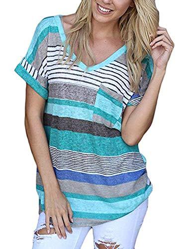 EREACH Donna Maniche Corte A Strisce, Donna Maglietta Manica Corta V Neck Casual Top Moda Loose T-Shirt (Blu, M)