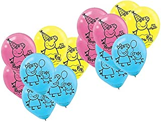 Peppa Pig Birthday Party Printed Latex Balloons Decoration, Pink,Blue and Yellow, 12, (Value Pack of 18)