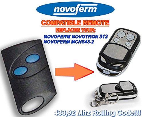 NOVOFERM NOVOTRON 312, MCHS43-2 universele vervangende afstandsbediening 433,92 MHz Rolling Code Keyfob