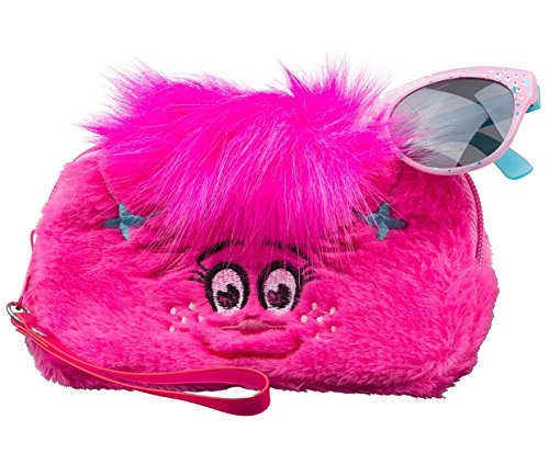 Trolls Find Your Happy Place Girls Sunglasses & Soft Fuzzy Carrying Case Set- 100% UV Protection for Kids