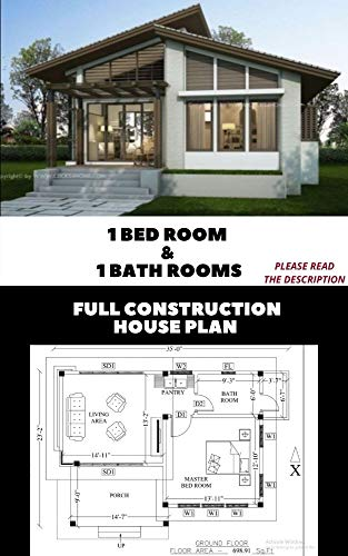1 Bedroom & 1 bath room Modern Granny's Tiny House Plans | Home Floor Plans | Cabin Cottage plans with AUTO CAD File: Full Construction Drawing