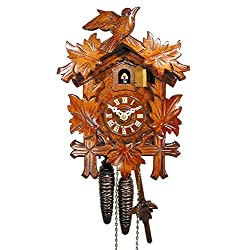 Original German cuckoo-clock (certified), mechanical 1-day movement with 1 bird and 5 leaves, coo-coo clocks from the Black-Forest, Germany by DV-Marketing, Schwarzwälder Kuckucksuhren