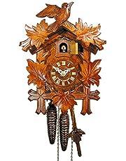 Reloj de cuco original de la Selva Negra (certificado), mecanismo mecánico de 1 día, 24 cm, 5 hojas, 1 pájaro, reloj de cuco, reloj de cuco, reloj de cuco, reloj de cuco (bonito regalo de Navidad)