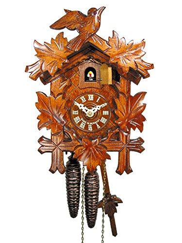 Orologio a cucu foresta nera meccanico (originale, certificato), 1 giorno, 5 foglie, 1 uccello, orologi a cucù in vero legno