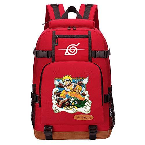 CXWLK Mochila Urban para Hombre Senderismo Trabajo con Bolsillo Backpack Mochila Hombres Mujer Bolso Mochila De Gran Capacidad,Naruto,Red,46cmX29cmX13cm