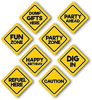 """Jayd Products, Construction Birthday Party Signs, 8 Pack, Medium Size 8"""" Construction Sign Cutouts, construction theme par..."""