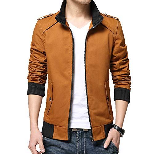 BEVERRY Men's Lightweight Casual Slim Fit Khaki Jacket Collarless Coats Zip Up Windbreakers