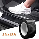 Car Door Sill Protector Bumper Protector Carbon Fiber Car Wrap Film 5D Gloss Black Vinyl Automotive Wrap Film Self-Adhesive Anti-Collision Film Fits for Most Car (2In x 33Ft, Black)