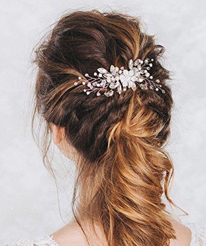 Peineta para bodas Aukmla con diamantes de imitación y flores