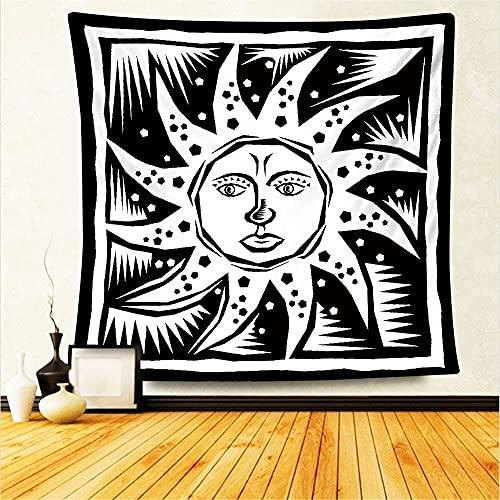 Tarot Card Astrología Brujería Paño colgante Hippie Mandala Blanco Negro Sol Luna Tapiz Colgante de pared Decoración del hogar A3 180x200cm