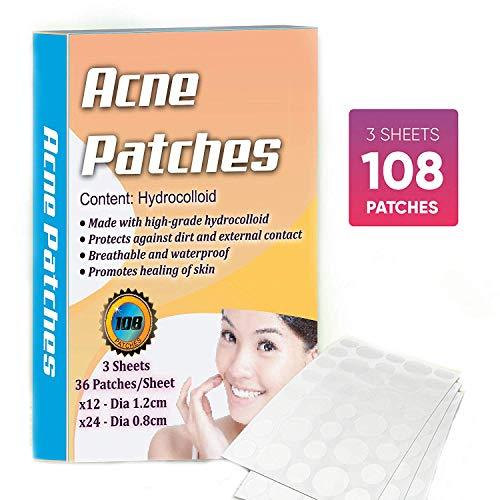 ENJI Hydrocolloid Acne Pimple Zit Patch Jumbo pack 108 Patches Scar Free Blemish Spot Cover Treatment Solution Quick Healing Anti Acne Patches, Acne Absorbing Spot Dot fall Skin Types Absorbing Cover