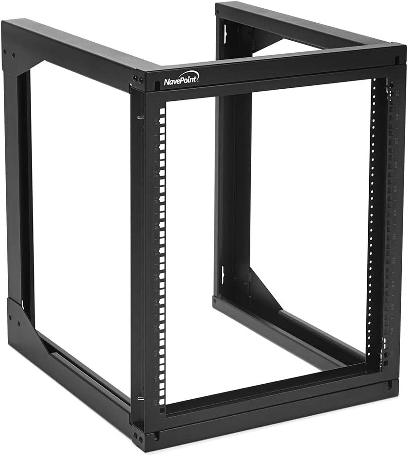 NavePoint 12U Wall Mount Open Frame Network Rack, Swing Out Hinged Gate,24 Inch Depth, Holds Network Servers and AV Equipment, Easy Rear Access to Equipment, Gate Opens 180 Degrees from Either Side