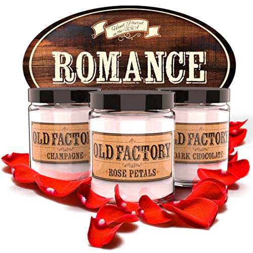 Old Factory Scented Candles  Romance  Decorative Aromatherapy  Handmade in The USA with Only The Best Fragrance Oils  3 x 4Ounce Soy Candles