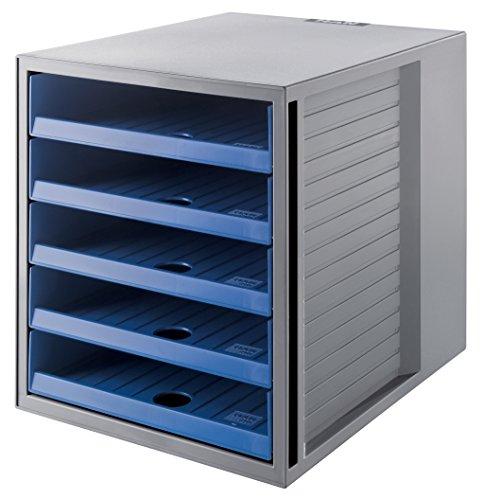 HAN Schubladenbox SCHRANK-SET KARMA – attraktives Design für Unterlagen bis DIN C4, BLAUER ENGEL zertifiziert, mit 5 offenen Schubladen, öko-grau/öko-blau, 14018-16