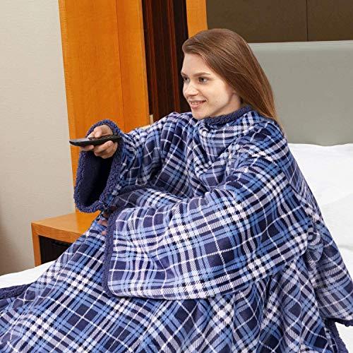 Viviland TV-Decke Sherpa Kuscheldecke mit Ärmeln und Fuß Tasche,zweiseitige Wohndecken,Mikrofaser Fleece Sherpa Warme Decke mit Stark Klettverschluss,Tagesdecke XL 170 x 200cm Navy Blue Plaid
