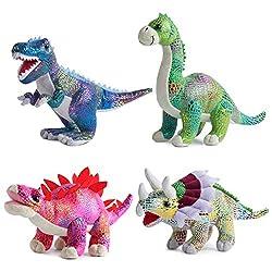 9. Build Me Plush 12″ Dinosaur Stuffed Animal (Set of 4)